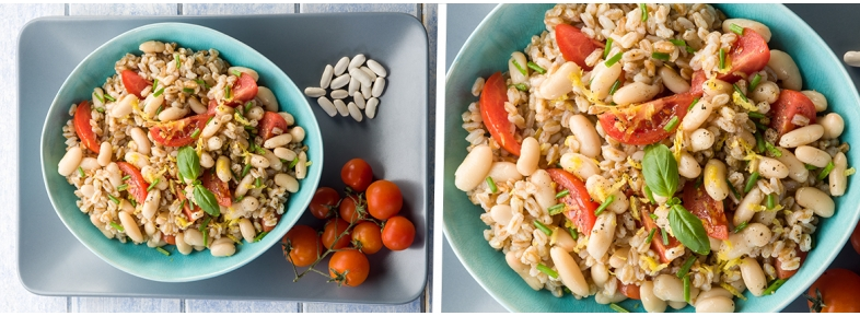 Spelt salad with cherry tomatoes and beans