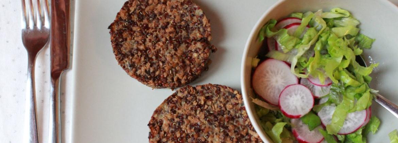 Burger di soia, funghi e quinoa