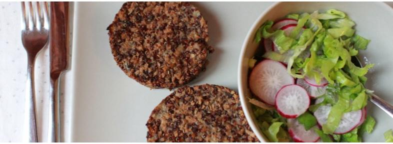 soy, mushrooms and quinoa burgers