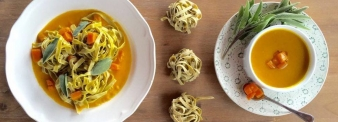 Spelt noodles with pumpkin and sage