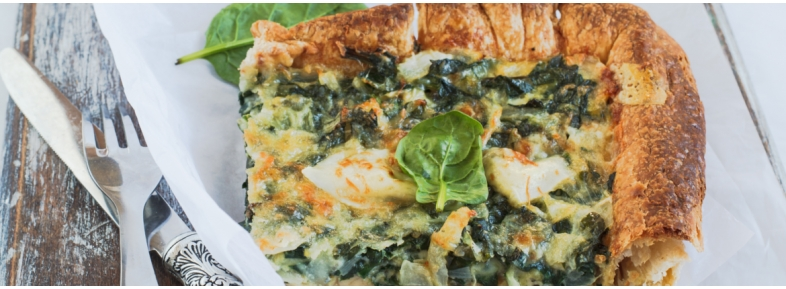 Gluten free Quiche with spinaches and mozzarella