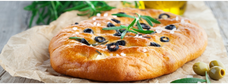 Whole flat bread with olives