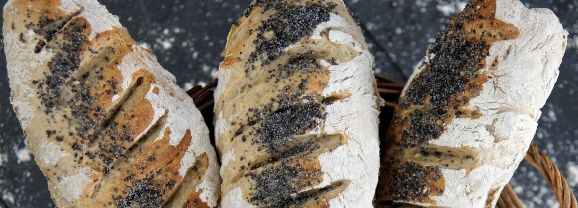 Loafs with whole wheat flour and walnuts