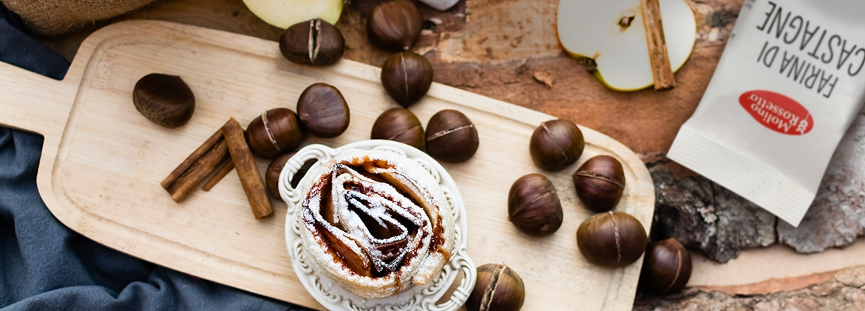Cestini di Castagne con mele cannella e noci
