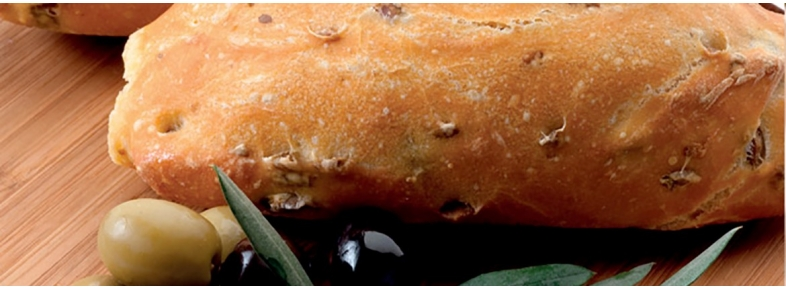 Khorasan bread with olives