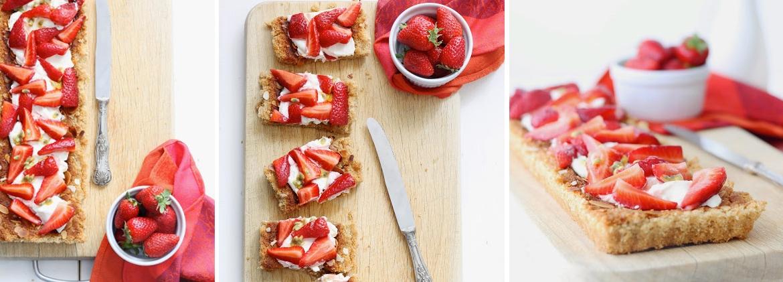 Torta frangipane con fragole e frutto della passione